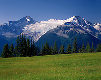 Castle Towers Mountain from meadows of Singing Pass, Garibaldi Provincial Park British Columbia Canada