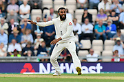 Adil Rashid of England reacts to a inside edge from Virat Kohli (captain) of India while bowling during day two of the fourth SpecSavers International Test Match 2018 match between England and India at the Ageas Bowl, Southampton, United Kingdom on 31 August 2018.
