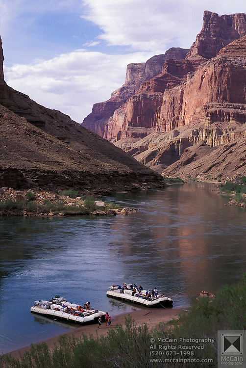 River rafts stopped at shore,Grand Canyon National Park, Colorado River, Arizona ..Subject photograph(s) are copyright Edward McCain. All rights are reserved except those specifically granted by Edward McCain in writing prior to publication...McCain Photography.211 S 4th Avenue.Tucson, AZ 85701-2103.(520) 623-1998.mobile: (520) 990-0999.fax: (520) 623-1190.http://www.mccainphoto.com.edward@mccainphoto.com.