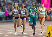Athletics - 2017 IAAF London World Athletics Championships - Day Seven, Evening Session<br /> <br /> Womens 800m Semi Final<br /> <br /> Caster Semenya (South Africa) comes home comfortably and qualifies for the final at the London Stadium<br /> <br /> COLORSPORT/DANIEL BEARHAM