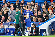 Chelsea midfielder Mason Mount (19) goes off injured during the Champions League match between Chelsea and Valencia CF at Stamford Bridge, London, England on 17 September 2019.