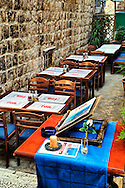 Outdoor cafe seating, Hvar Island, Croatia