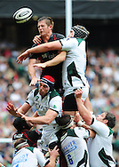 London - Saturday, 5th September, 2009: Andy Saull of Saracens and Bob Casey of London Irish during the Guinness Premiership match at Twickenham, London. ..(Pic by Alex Broadway/Focus Images)