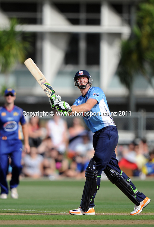 Auckland batsman Martin Guptill in action during the HRV Twenty20 Cricket match between the Auckland Aces and Otago Volts at Colin Maiden Oval in Auckland, New Zealand on Friday 6 January 2012. Photo: Andrew Cornaga/Photosport.co.nz