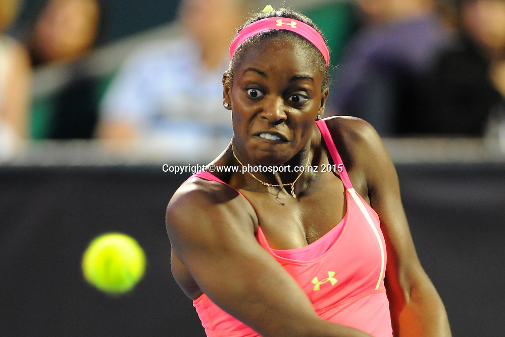 Sloane Stephens from the USA during the night session on Day 3 of the ASB Classic Women's International. ASB Tennis Centre, Auckland, New Zealand. Wednesday 7 January 2015. Copyright photo: Chris Symes/www.photosport.co.nz