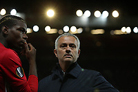 Football - 2016 / 2017 UEFA Europa League Manchester United v FC Zorya Luhansk at Old Trafford <br /> <br /> Jose Mourinho of Manchester United reacts a Paul Pogba of Manchester United asks for instructions as to where to play before the match. <br /> <br /> COLORSPORT/LYNNE CAMERON