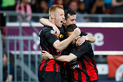 (L-R) Mike van Duinen of Excelsior, Ali Messaoud of Excelsior, Stanley Elbers of Excelsior during the Dutch Eredivisie match between sbv Excelsior Rotterdam and Heracles Almelo at Van Donge & De Roo stadium on April 18, 2018 in Rotterdam, The Netherlands