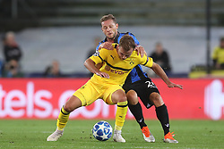 September 18, 2018 - Brugge, BELGIUM - Dortmund's Mario Gotze and Club's Mats Rits fight for the ball during a game between Belgian soccer team Club Brugge KV and German club Borussia Dortmund, in Brugge, Tuesday 18 September 2018, day one of the UEFA Champions League, in group A. BELGA PHOTO BRUNO FAHY (Credit Image: © Bruno Fahy/Belga via ZUMA Press)