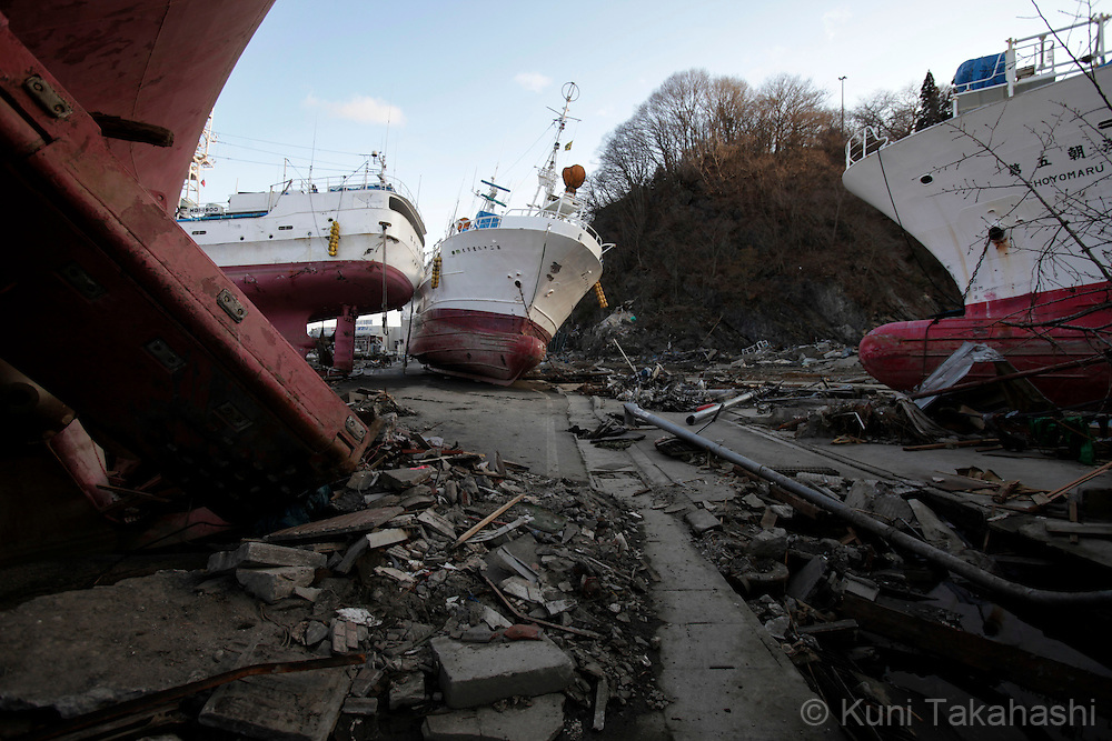 Ships washed ashore on the road in Kesennuma, Miyagi, Japan after on March 27, 2011, after massive earthquake and tsunami hit northern Japan. More than 20,000 were killed by the disaster on March 11.<br /> Photo by Kuni Takahashi