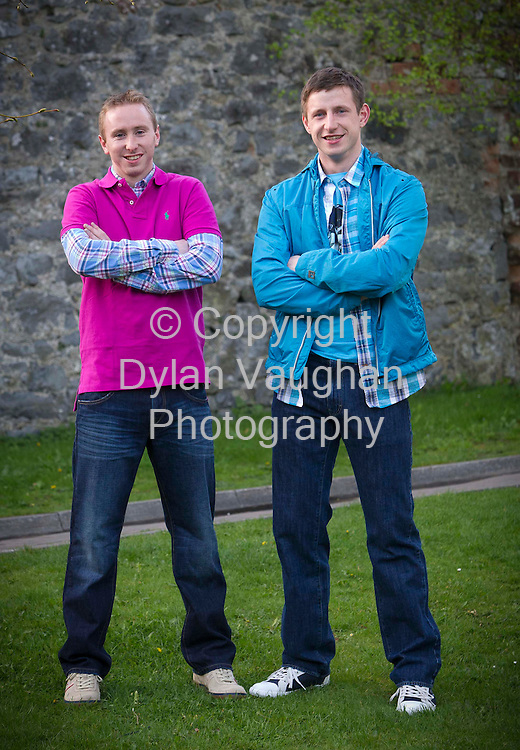 6/4/2011.Senior Kilkenny hurlers James Cha Fitzpatrick (left) and John Tennyson pictured yesterday where they were taking part in a fund-raising fashion show in aid of Clara National School in Kilkenny..The two hurlers are pictured at Langtons wearing clothes from Pauls of High Street in Kilkenny..Picture Dylan Vaughan.....