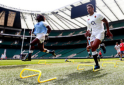 Denny Solomona and Marland Yarde of England take part in training at Twickenham ahead of the upcoming tour of Argentina - Mandatory by-line: Robbie Stephenson/JMP - 02/06/2017 - RUGBY - Twickenham - London, England - England Rugby Training