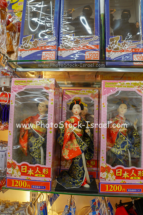 Japanese dolls for sale at a souvenir shop in Tokyo, Japan