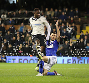Fulham striker Moussa Dembélé (Dembele) with a shot on goal during the Sky Bet Championship match between Fulham and Ipswich Town at Craven Cottage, London, England on 15 December 2015. Photo by Matthew Redman.