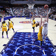 Katie Lou Samuelson, UConn, drives to the basket for two points during the UConn Huskies Vs East Carolina Pirates Quarter Final match at the  2016 American Athletic Conference Championships. Mohegan Sun Arena, Uncasville, Connecticut, USA. 5th March 2016. Photo Tim Clayton