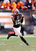 Cleveland Browns wide receiver Josh Cribbs (16) catches a fourth quarter punt on a full run during the NFL week 12 football game against the Pittsburgh Steelers on Sunday, Nov. 25, 2012 in Cleveland. The Browns won the game 20-14. ©Paul Anthony Spinelli