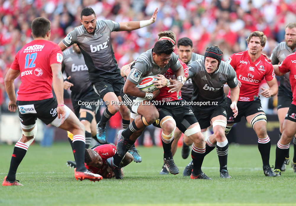 Seta Tamanivalu of the Crusaders tackled by Jaco Kriel of the Lions during the 2017 Super Rugby Final between the Lions and Crusaders at Ellis Park, Johannesburg on 05 August 2017 ©Gavin Barker/BackpagePix / www.photosport.nz