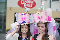 03/08/2014 Ellie Malone and Kaite Kelly from Galway who entered the Mad Hatter Day Competition with a peace message for the children of Gaza at the Final day of the Galway Racing Summer Festival. Photo:Andrew Downes