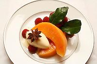 l'Ambroisie, Chef Bernard Pacaud, Place des Vosges, Paris....l'Ambroisie is a Michelin three star restaurant......Cristallines de melon aux framboises, glace à l'anis étoilé..............................