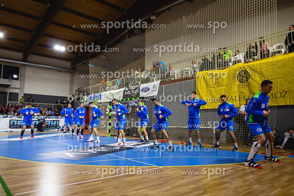 Players of Slovenia warming up before friendly handball match between Slovenia and Nederland, on October 25, 2019 in Športna dvorana Hardek, Ormož, Slovenia. Photo by Blaž Weindorfer / Sportida