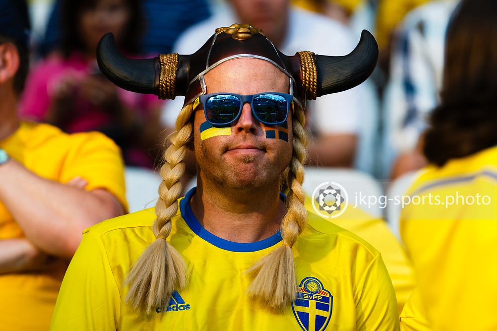 June 22 2016, Euro 2016 Sweden - Belgium<br /> A Swedish fan that looks like a waking and Pippi Longstocking att the same time. Before the game.<br /> Editorial Use Only.<br /> Local caption:<br /> Em Fotboll, Sverige - Belgien, 20160622<br /> Ett Svenskt fan som ser ut som en viking och Pippi L&aring;ngstrump p&aring; samma g&aring;ng. F&ouml;re matchen.<br /> Endast f&ouml;r redaktionellt bruk.<br /> &copy; Daniel Malmberg/IBL/All Over Press