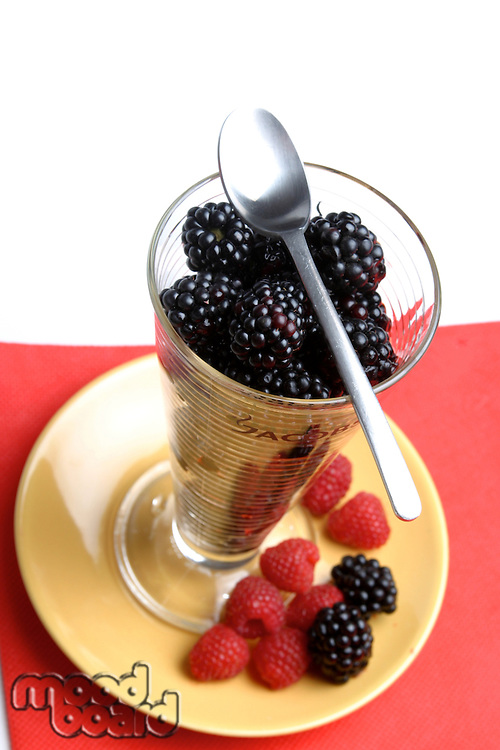 Fresh raspberries and blacberries dessert