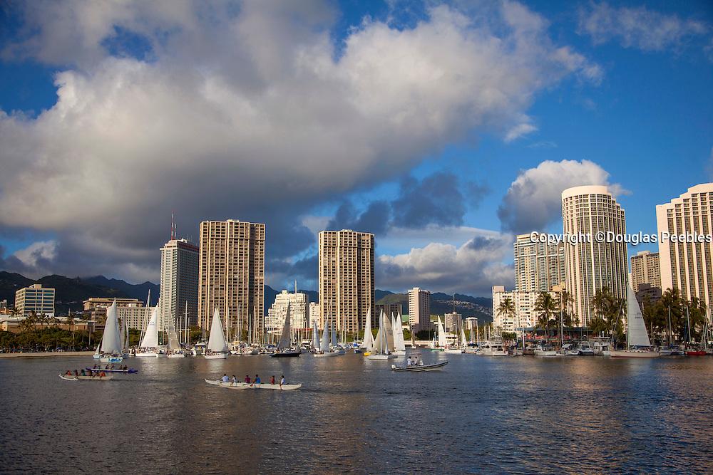 Friday night sailboat races, Ala Wai Harbor, Waikiki, Honolulu, Oahu, Hawaii
