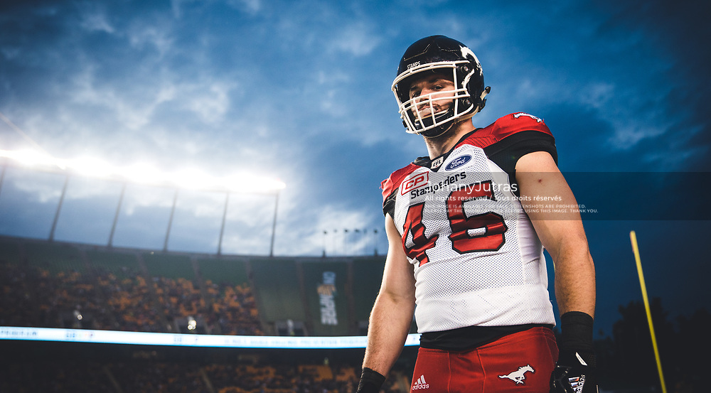 Charlier Power (46) of the Calgary Stampeders during the game against the Edmonton Eskimos at Commonwealth Stadium in Edmonton AB, Saturday, September 9, 2017. (Photo: Johany Jutras)