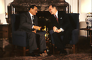 George HW Bush (Bush 41) meets Hosni Mubarak in Tokyo during  the economic summit...Photograph by Dennis Brack bb 27