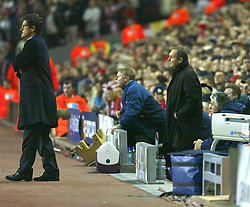LIVERPOOL, ENGLAND - Tuesday, March 19, 2002: Liverpool's manager Gerard Houllier back on the bench, for the first time since his life-saving heart operation in October 2001, during the UEFA Champions League Group B match against AS Roma at Anfield. (Pic by David Rawcliffe/Propaganda)