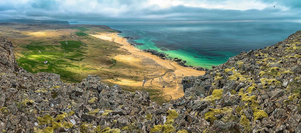 Panoramafotografie Latrabjarg Coastel Iceland