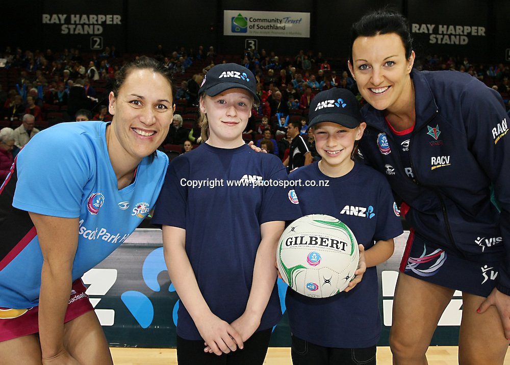 Southern Steels captain Jodi Brown, with Future Captain Kendra Finnerty (11)left, Blaise Perry (9) and Melbourne Vixens captain Bianca Chatfield in the ANZ championship netball match, Steel v Vixens, ILT Stadium Southland, Invercargill, New Zealand, Saturday, May 31, 2014. Photo: Dianne Manson / www.photosport.co.nz