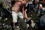 February 28th 2006. New Orleans, Louisiana. United States. .People fight during Mardi Gras' party in the French Quarter.
