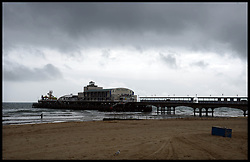 An Empty Bournemouth beach after all the hot weather on Bank Holiday Monday, is now deserted after the weather turns to dark skies, Wednesday May 8, 2013. Photo by: Andrew Parsons / i-Images