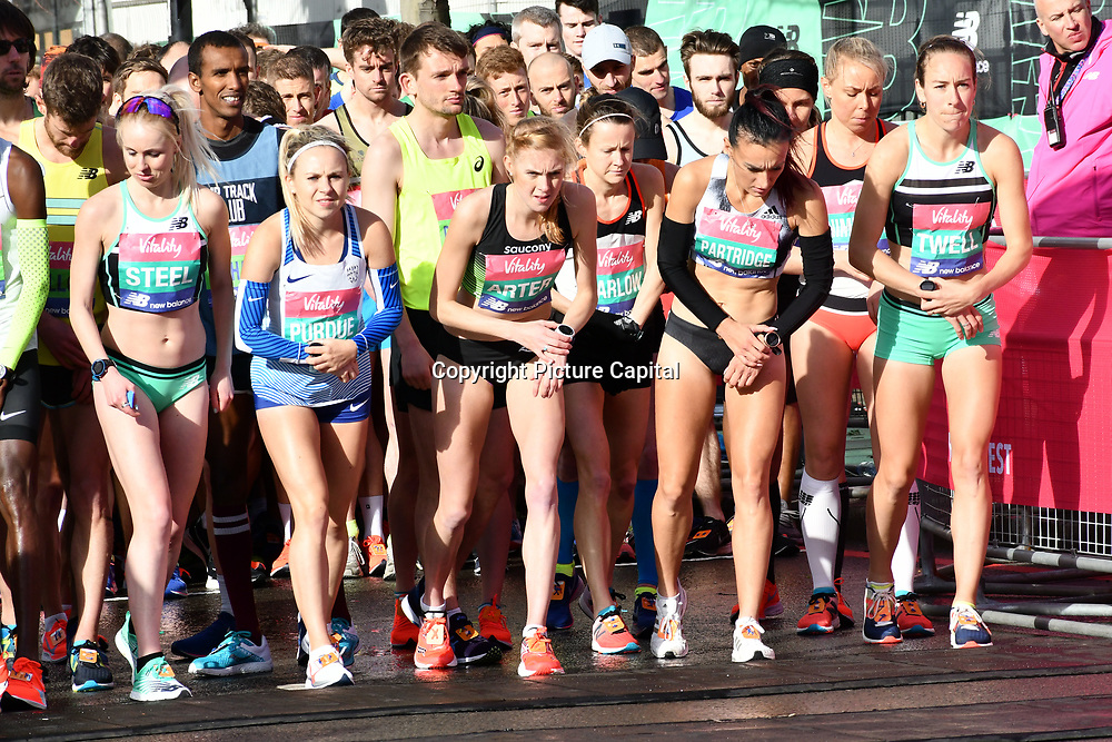 Charlotte Purdue, Charlotte Arter, Tracy Barlow, Lily Partridge and Steph Twell at the elite race start men and women at The Vitality Big Half 2019 on 10 March 2019, London, UK.
