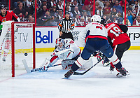 OTTAWA, ON - OCTOBER 05: Ottawa Senators Center Derick Brassard (19) scores the Senators third goal of the night against Washington Capitals Goalie Braden Holtby (70) during the NHL game between the Ottawa Senators and the Washington Capitals on Oct. 5, 2017 at the Canadian Tire Centre in Ottawa, Ontario, Canada. (Photo by Steven Kingsman/Icon Sportswire)