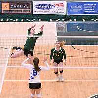 2nd year middle blocker Brooklyn Reynolds (10) of the Regina Cougars in action during Women's Volleyball home game on February 3 at Centre for Kinesiology, Health and Sport. Credit: Arthur Ward/Arthur Images