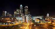 Charlotte City center night Stitched Panorama