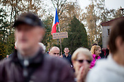 """Citizens - Don't let democracy be threatened"", a lonely protester during Czech president Milos Zeman's public ""meetings with citizens"" at the village of Brasy located in the Pilsen Region. Miloš Zeman (born 28 September 1944) is the third and current President of the Czech Republic, in office since 8 March 2013.  He announced his candidacy for the 2018 presidential elections which will be held in the Czech Republic on 12–13 January."