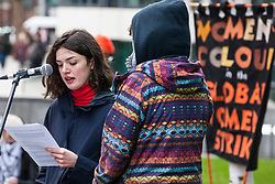 London, UK. 11th February, 2019. Speakers read testimony from Detained Voices to campaigners against immigration deportations and the Government's hostile environment staging a 'People's Trial of the Home Office' including direct testimonies by individuals affected and performances by musicians and poets.