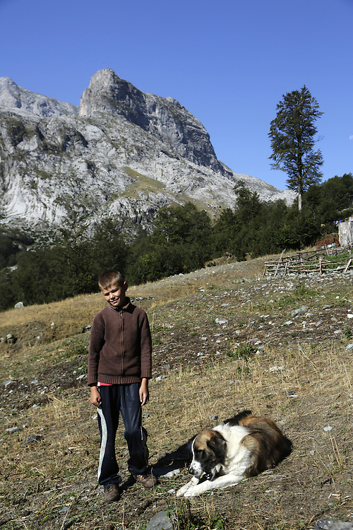 Boy and a dog at 'stanet', a collection of summer pastoralists, near Qafa Borit pass, Valbona, Albania.
