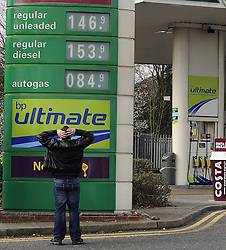 © Licensed to London News Pictures. 11/03/2012. Rising cost of petrol. High fuel prices at the Medway BP petrol station on the M2 in Kent (today 11.03.2012). Photo credit : Grant Falvey/LNP