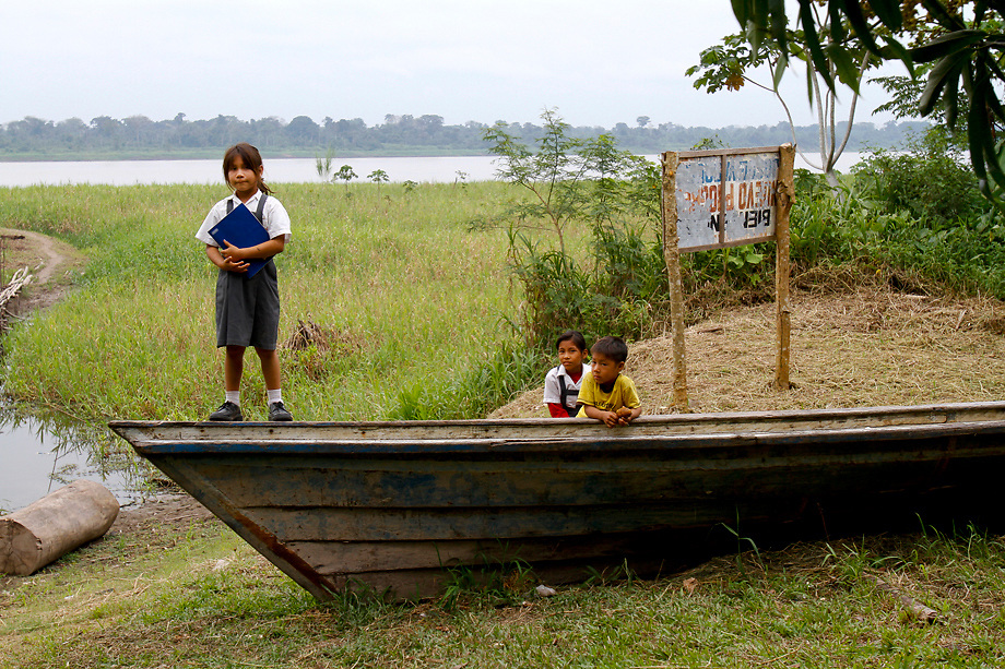 Children in Amazon River village in Peru