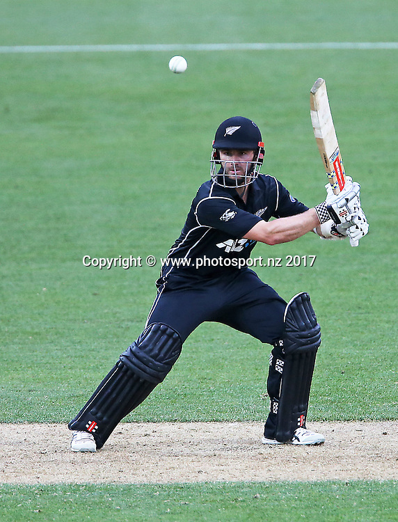 Black Caps captain Kane Williamson batting during the 3rd ANZ One Day International Cricket match, New Zealand V South Africa. Westpac Stadium, Wellington. 25th February 2017. © Copyright Photo: Grant Down / photosport.nz