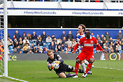 Queens Park Rangers goalkeeper Alex Smithies (25) claims the ball in his 6 yard box during the Sky Bet Championship match between Queens Park Rangers and Charlton Athletic at the Loftus Road Stadium, London, England on 9 April 2016. Photo by Andy Walter.