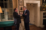 JAMES NAUGHTIE; RORY BREMNER, The Walter Scott Prize for Historical Fiction 2015 - The Duke of Buccleuch hosts party to for the shortlist announcement. <br /> The winner is announced at the Borders Book Festival in Scotland in June.John Murray's Historic Rooms, 50 Albemarle Street, London, 24 March 2015.