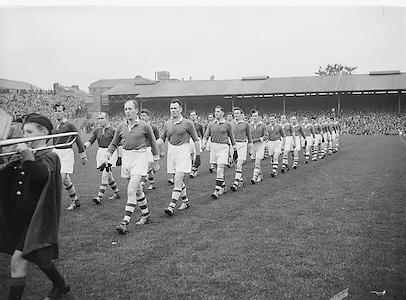 All Ireland Senior Football Final Replay. Meath v Cavan..The Cavan Team..Winners - Cavan 0.9 - 0.5..12.10.1952  12th October 1952S. Morris, J. McCabe, P. Brady, D. Maguire, P. Carolan, L. Maguire, B. O'Reilly, V. Sherlock, T. Hardy, S. Hetherton, M. Higgins (Captain), E. Carolan, J. J. Cassidy, A. Tighe, J. Cusack. Note: P. Fitzsimons played in drawn game. J. Cusack came on for replay. P. Fitzsimmons was introduced as Sub for J. J. Cassidy in replay.