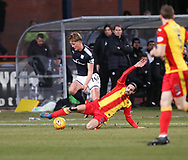 16th December 2017, Dens Park, Dundee, Scotland; Scottish Premier League football, Dundee versus Partick Thistle; Partick Thistle's Ryan Edwards tackles Dundee's Mark O'Hara