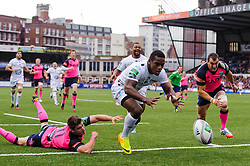 Toulon Winger (#14) Josua Tuisova beats Cardiff Blues Winger (#11) Harry Robinson and Flanker (#7) Sam Warburton over the line but the try is disallowed for a forward pass during the first half of the match - Photo mandatory by-line: Rogan Thomson/JMP - Tel: 07966 386802 - 19/10/2013 - SPORT - RUGBY UNION - Cardiff Arms Park, Wales - Cardiff Blues v Toulon - Heineken Cup Round 2.