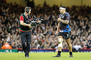 Ospreys centre Josh Matavesi gives the thumbs-up to a tv camera man, after his try was awarded, during the European Challenge Cup match between Ospreys and Stade Francais at Principality Stadium, Cardiff, Wales on 2 April 2017. Photo by Andrew Lewis.