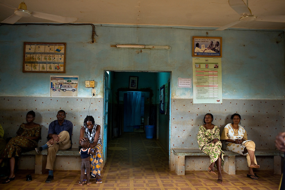 Relatives wait outsides the maternal sections of the hospital. (NOT model released) .Ouahigouya regional hospital centre